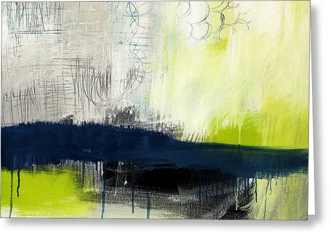 Green And Yellow Abstract Greeting Cards - Turning Point - contemporary abstract painting Greeting Card by Linda Woods