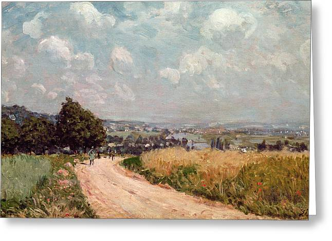 Twisting Greeting Cards - Turning Road Greeting Card by Alfred Sisley