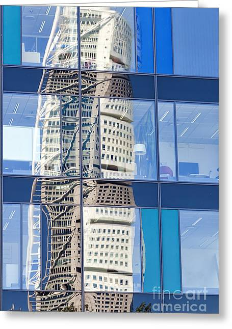 Soaring Tower Greeting Cards - Turning Torso Reflection Greeting Card by Antony McAulay
