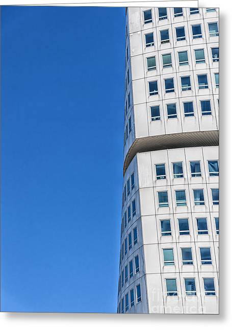 Geometric Style Greeting Cards - Turning Torso Skyscraper Greeting Card by Antony McAulay