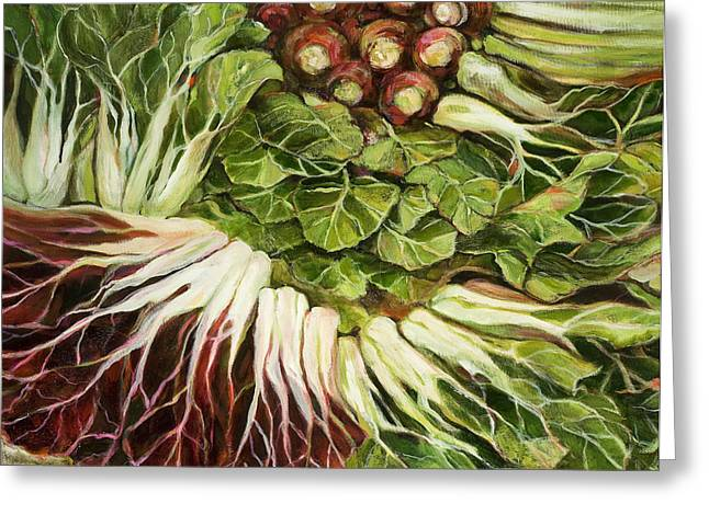 Food Art Paintings Greeting Cards - Turnip and Chard Concerto Greeting Card by Jen Norton