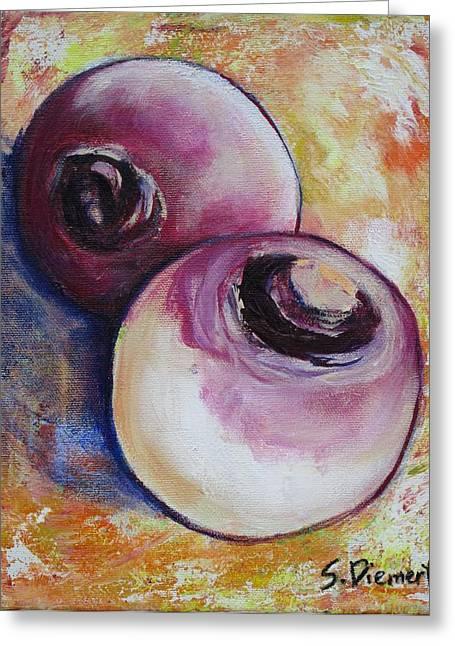 Sheila Diemert Paintings Greeting Cards - Turnips I Greeting Card by Sheila Diemert