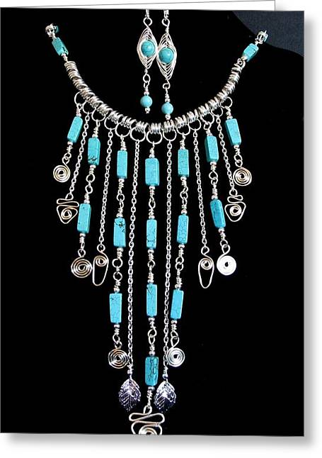Coiling Jewelry Greeting Cards - Turqoise Bibb necklace in Silver Greeting Card by Jan Brieger-Scranton