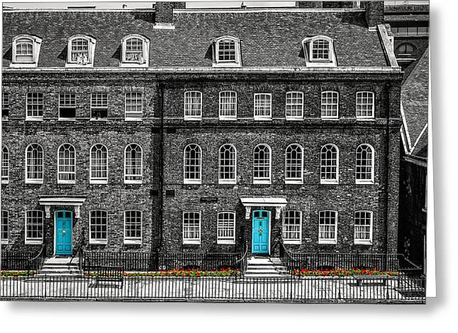 Turquoise Doors At Tower Of London's Old Hospital Block Greeting Card by James Udall