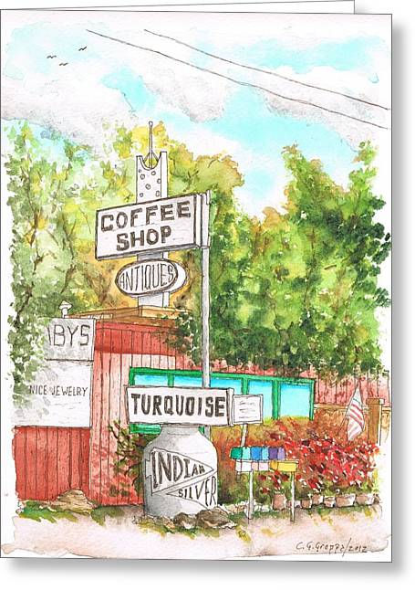 Turquois Greeting Cards - Turquois Coffee Shopp in Three Rivers - California Greeting Card by Carlos G Groppa