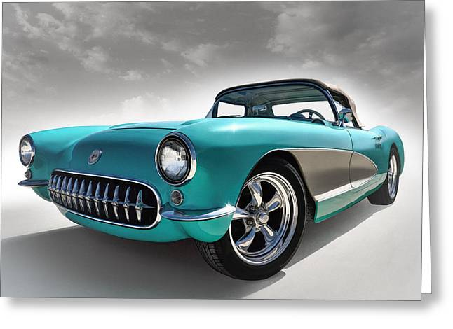Chevrolet Greeting Cards - Turquoise 57 Greeting Card by Douglas Pittman