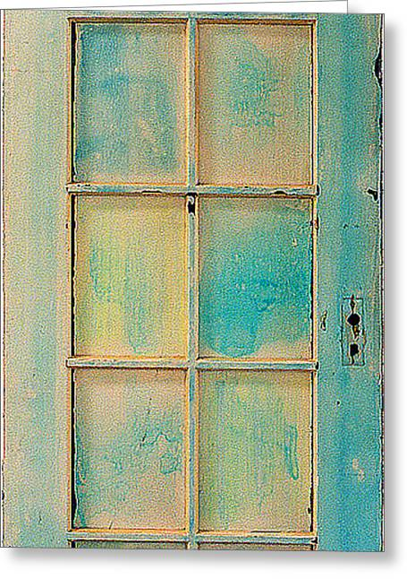 Fine Art Prints Sculptures Greeting Cards - Turquoise and Pale Yellow Panel Door Greeting Card by Asha Carolyn Young