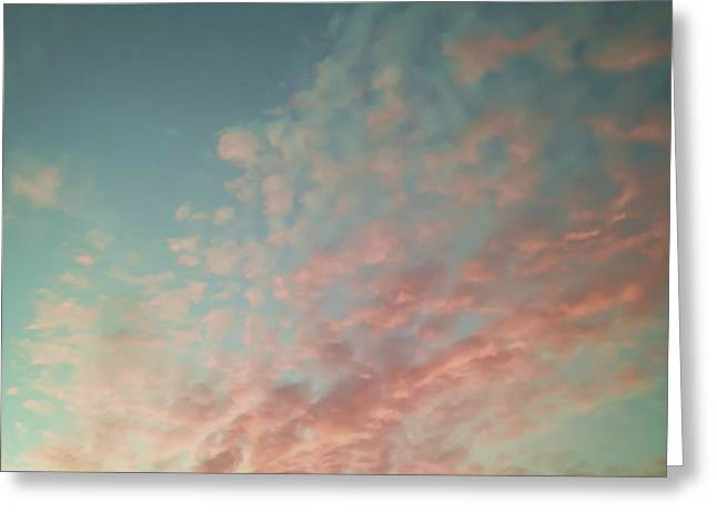 Turquoise and Peach Skies Greeting Card by Holly Martin