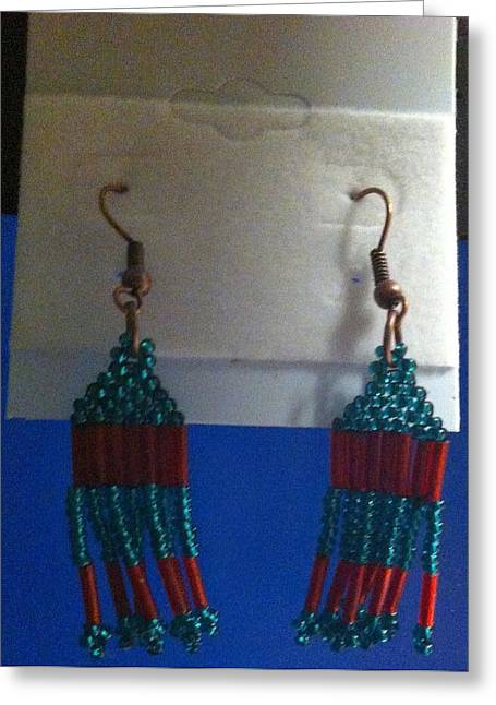 Seed Beads Greeting Cards - Turquoise and Red Tassel Handwoven Earrings Greeting Card by Kimberly Johnson