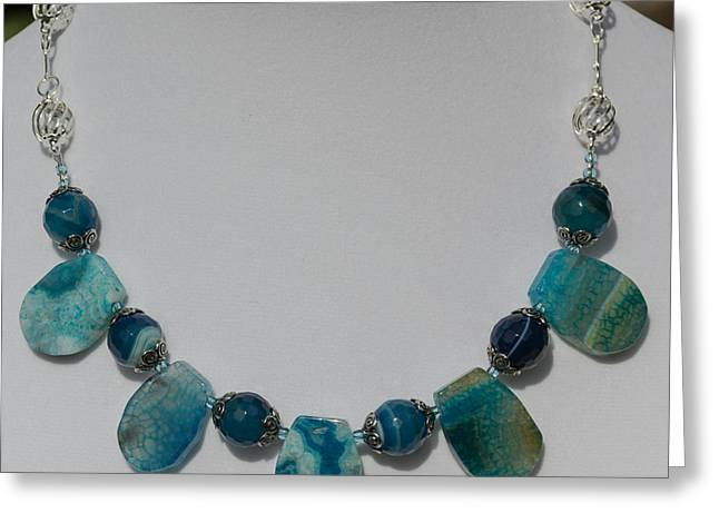 Sapphire Jewelry Greeting Cards - Turquoise and Sapphire Agate Necklace 3674 Greeting Card by Teresa Mucha