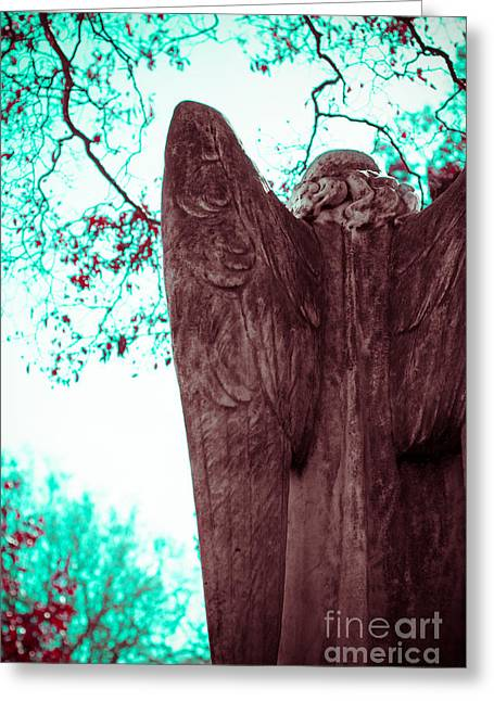 Historical Cemetery Greeting Cards - Turquoise Angel Greeting Card by Sonja Quintero