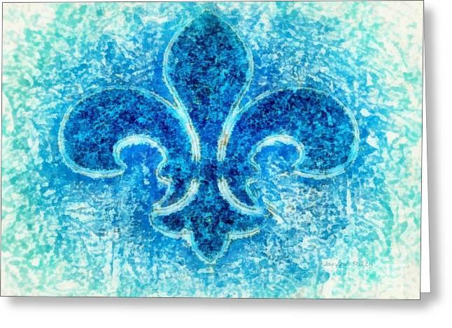 Bleu Greeting Cards - Turquoise bleu Fleur De Lys Greeting Card by Janine Riley