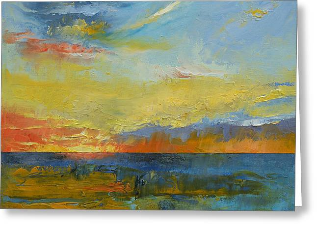 Sunset Abstract Paintings Greeting Cards - Turquoise Blue Sunset Greeting Card by Michael Creese