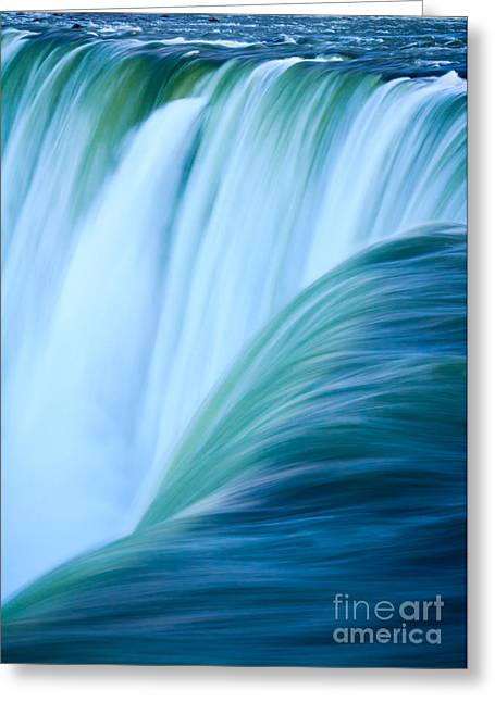 Turquoise Blue Waterfall Greeting Card by Peta Thames