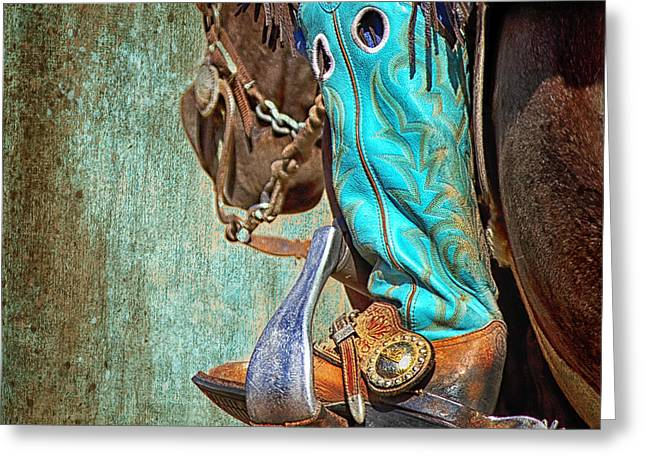 Western Culture Greeting Cards - Turquoise Boot Greeting Card by Susan Kordish
