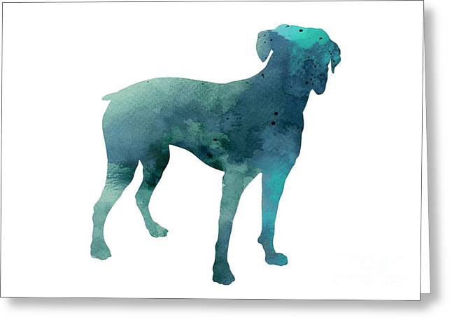 Boxer Abstract Art Greeting Cards - Turquoise boxer art silhouette  Greeting Card by Joanna Szmerdt