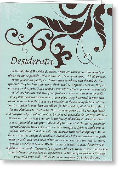 Motivational Poster Drawings Greeting Cards - Turquoise Brown Typography Art Desiderata with Flourish Greeting Card by Desiderata Gallery