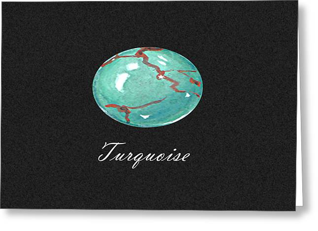 Carat Paintings Greeting Cards - Turquoise Cabochon black Greeting Card by Marie Esther NC