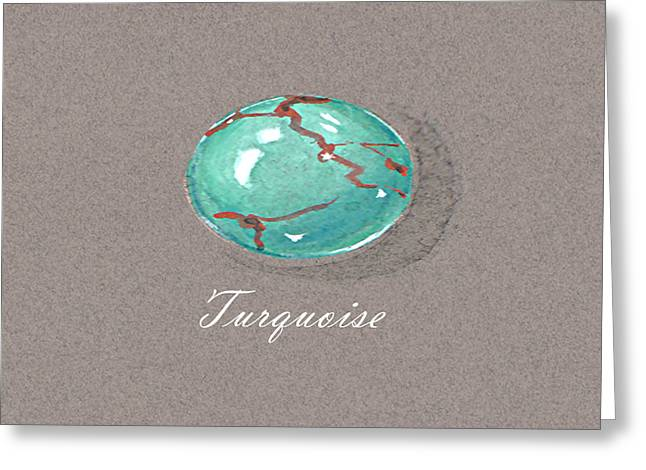 Carat Paintings Greeting Cards - Turquoise Cabochon Greeting Card by Marie Esther NC