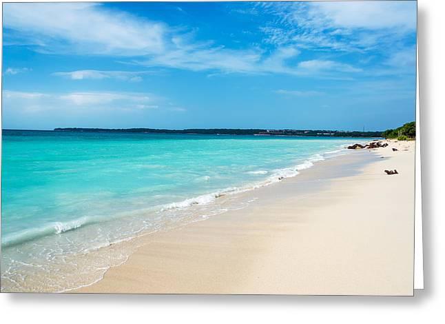 Playa Blanca Greeting Cards - Turquoise Caribbean Water Greeting Card by Jess Kraft