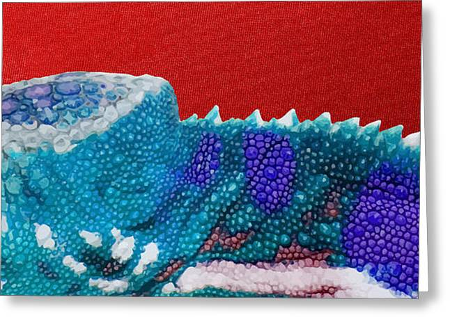Ultra Modern Greeting Cards - Turquoise Chameleon on Red Greeting Card by Serge Averbukh