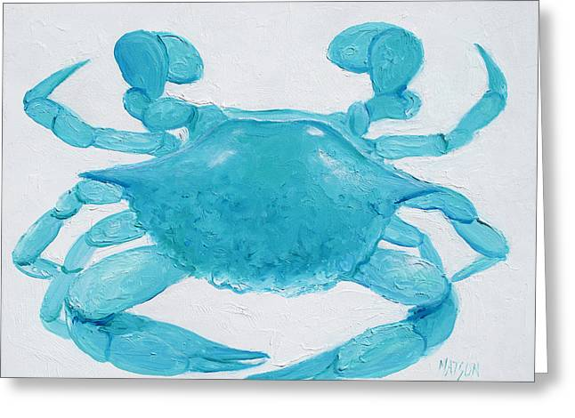 Beach Cottage Style Greeting Cards - Turquoise Crab Greeting Card by Jan Matson