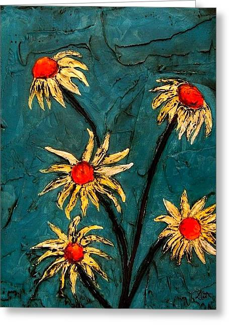 Laura Carter Greeting Cards - Turquoise Daisies Abstract Art Flowers Painting Greeting Card by Laura  Carter