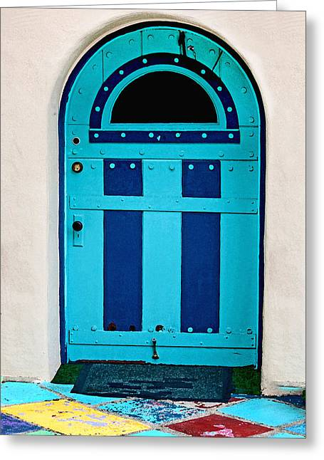 Entryway Greeting Cards - Turquoise Door Greeting Card by Art Block Collections