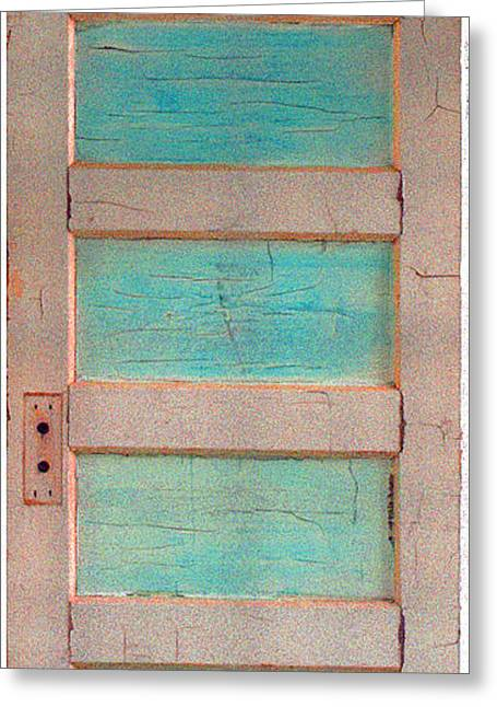Best Sellers -  - Wooden Sculpture Greeting Cards - Turquoise Doorway and Ladder to the Sky Greeting Card by Asha Carolyn Young