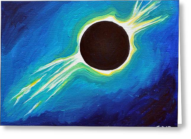 Solar Eclipse Paintings Greeting Cards - Turquoise Eclipse Greeting Card by Cedar Lee