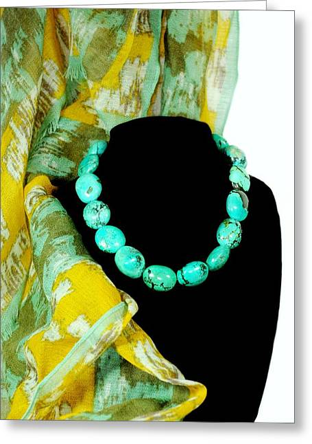 Turquoise Fashion Greeting Card by Diana Angstadt