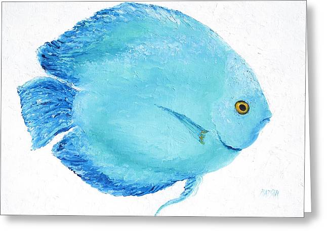 Cushion Greeting Cards - Turquoise fish Greeting Card by Jan Matson