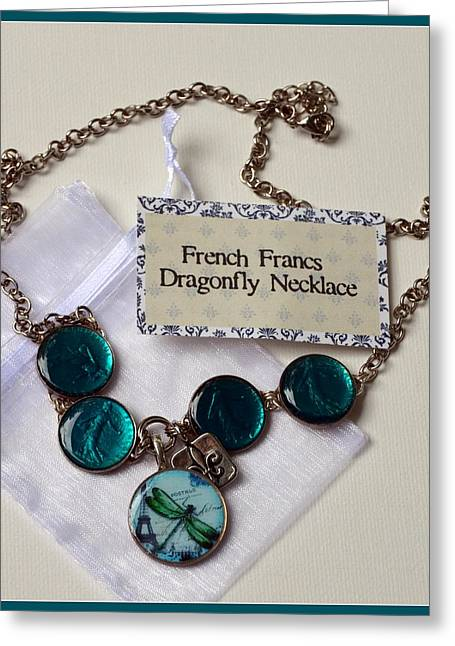Glass Necklace Jewelry Greeting Cards - Turquoise French Francs Dragonfly Necklace Greeting Card by Carla Parris