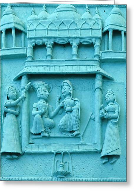 Royal Art Greeting Cards - Turquoise Fresco Palace King Queen 5 Udaipur Rajasthan India Greeting Card by Sue Jacobi