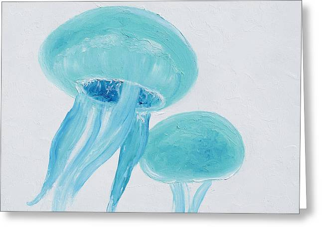 Jelly Fish Paintings Greeting Cards - Turquoise Jellyfish Greeting Card by Jan Matson