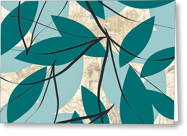 Turquoise Leaves Greeting Card by Lourry Legarde