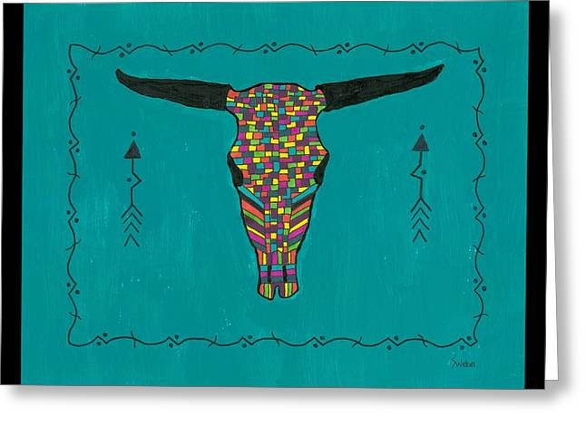 Susie Weber Greeting Cards - Turquoise Longhorn Skull Greeting Card by Susie Weber