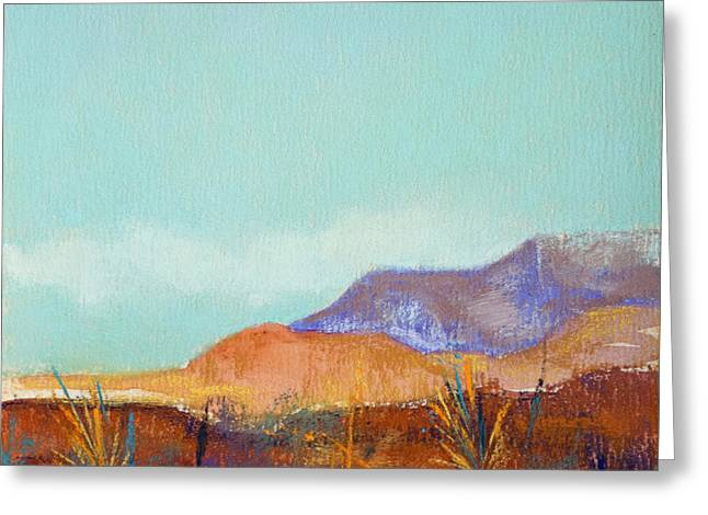 Taos Pastels Greeting Cards - Turquoise Mountains Greeting Card by Tracy L Teeter