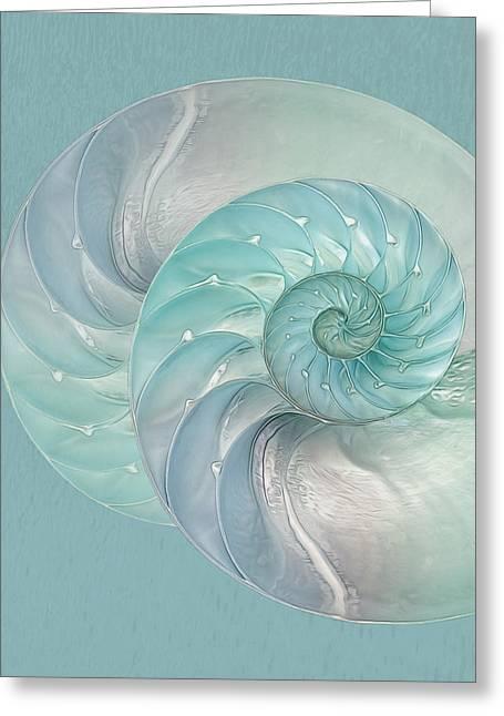 Geometric Artwork Greeting Cards - Turquoise Nautilus Pair Greeting Card by Gill Billington