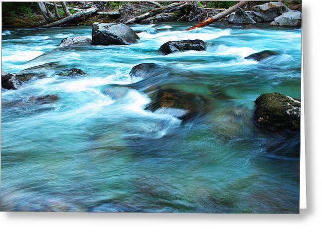 Deep River County Park Greeting Cards - Turquoise Ohanapecosh 4034 Greeting Card by Donald Sewell