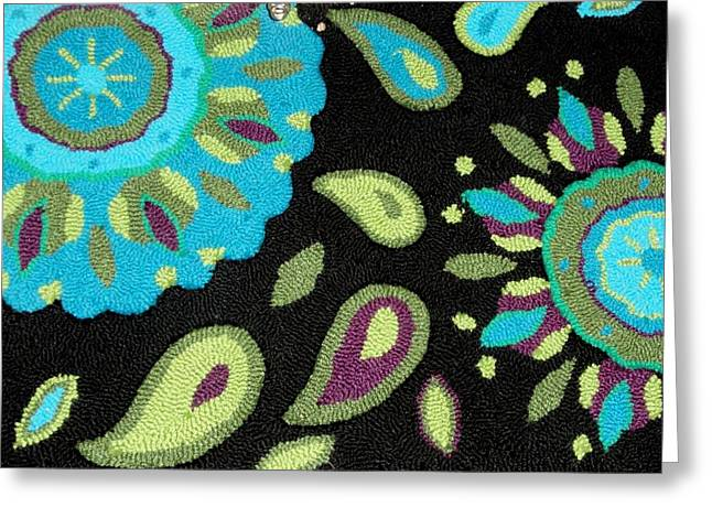Photograph Tapestries - Textiles Greeting Cards - Tapestry Turquoise Rug Greeting Card by Janette Boyd