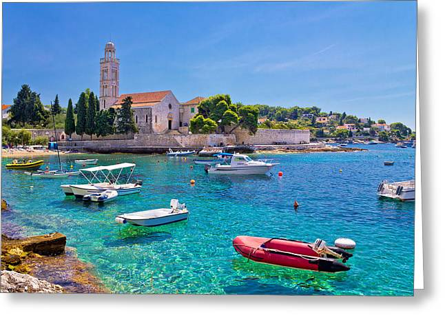 Franciscian Greeting Cards - Turquoise sea of Hvar island Greeting Card by Dalibor Brlek