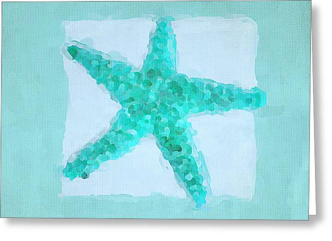 Seashells Collection Greeting Cards - Turquoise Seashells II Greeting Card by Lourry Legarde