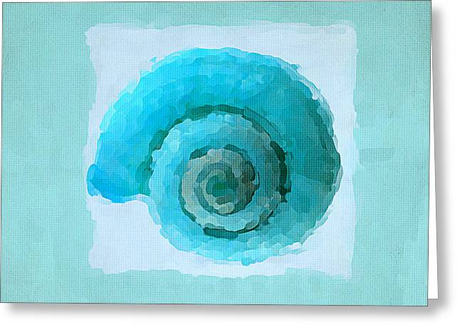 Sea Shell Art Paintings Greeting Cards - Turquoise Seashells III Greeting Card by Lourry Legarde