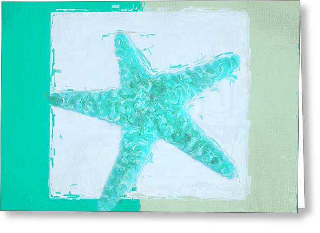 Shell Pattern Greeting Cards - Turquoise Seashells IX Greeting Card by Lourry Legarde