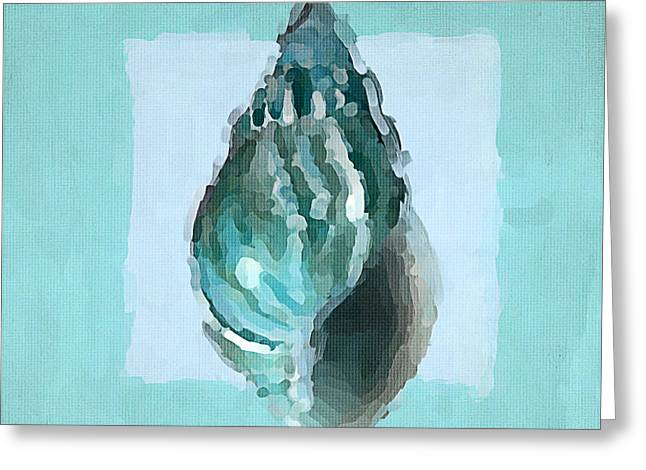 Sea Shell Art Paintings Greeting Cards - Turquoise Seashells V Greeting Card by Lourry Legarde