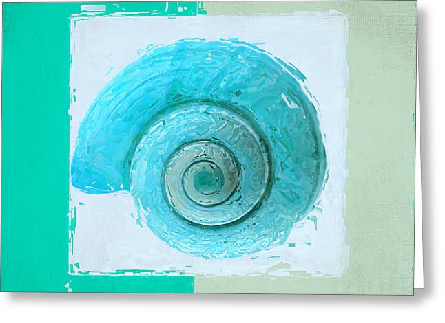 Beach Decor Paintings Greeting Cards - Turquoise Seashells X Greeting Card by Lourry Legarde
