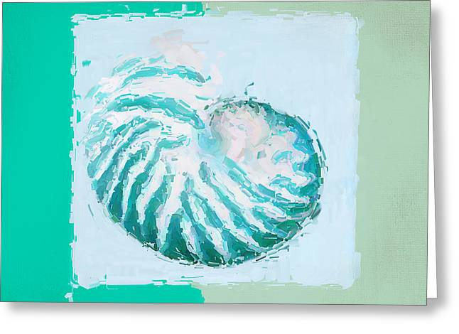 Beach Decor Paintings Greeting Cards - Turquoise Seashells XII Greeting Card by Lourry Legarde