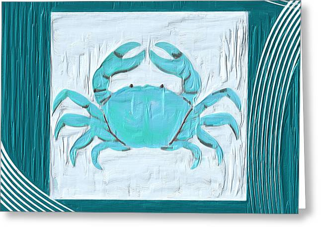 Sea Shell Art Paintings Greeting Cards - Turquoise Seashells XIX Greeting Card by Lourry Legarde