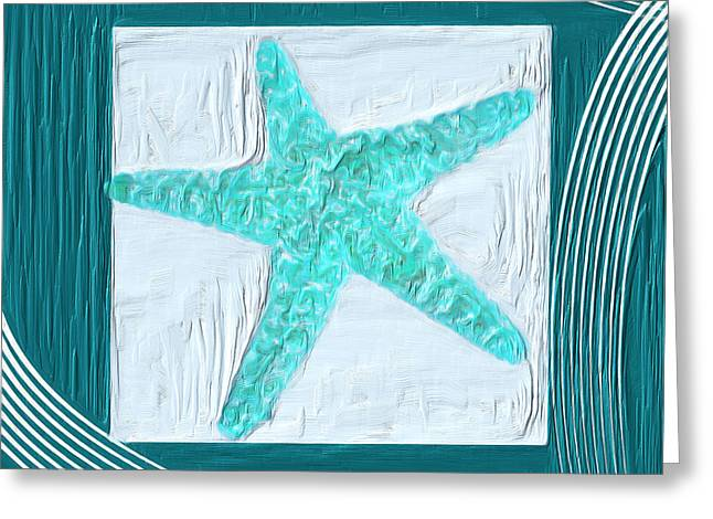 Restaurant Decor Greeting Cards - Turquoise Seashells XVI Greeting Card by Lourry Legarde